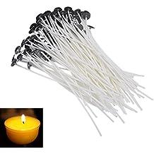 JUNGEN 100 X naturelle bougie mèche basse fumée Ghee mèche pour bricolage Candle Making (2,36 pouces)