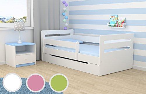 *Kocot Kids Kinderbett Jugendbett 80×160 Weiß mit Rausfallschutz Matratze Schubalde und Lattenrost Kinderbetten für Mädchen und Junge – Tomi 160 cm*