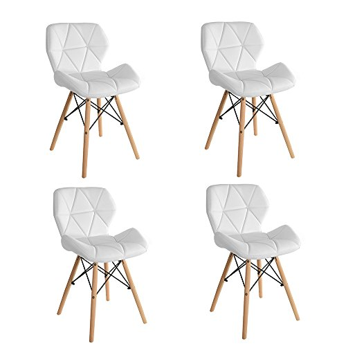 Wooden Dining Chairs Set of 4 Lounge Dining Room Set Chairs Home Office Eiffel Style Design (Set of 4 Chair, White)