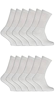 New Mens 12 Pairs COTTON Plain White Sport Socks UK 6-11 EUR 39-45