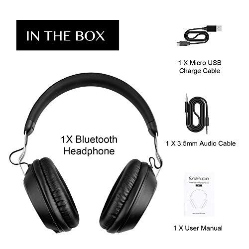 OneAudio Bluetooth 5.0 Kopfhörer, Kabellose Over Ear Kopfhörer mit eingebaute Mikrofon und Klarem Bass, Dual 40mm Treiber Verstellbare Blootooth Headset mit Soft Memory-Protein Ohrenschützer - 7