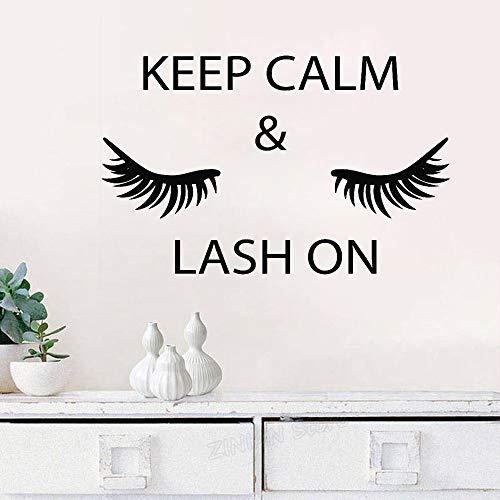 wukongsun Behalten Sie Ruhe und Wimpern auf den Wandaufklebern Wimpern falsche Wimpern Augenbrauen Schönheitssalon dekorative Wandaufkleber 66cmx42cm