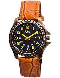 WM Black Dial Brown Leather Strap Watch For Men And Boys AWC-014 AWC-014omtbg