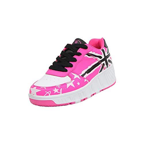 Kinder Rollschuhe Schuhe Mädchen Jungen Rollschuhe Rollschuhe Rollschuhe Roller Sneaker Schuhe mit Rollen, Pink - Star Pink - Größe: 33 EU