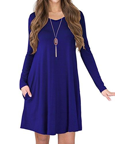 LILBETTER Frauen Langarm-beiläufige lose Taschen-Kittel-Kleid (Königsblau XL) (Langarm Kittel Für Damen)