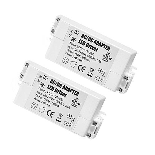 YAYZA! 2-Paquete Transformador de Conductor LED de Bajo Voltaje IP44 12V 2A 24W Fuente de Alimentación Conmutada de CA/CC
