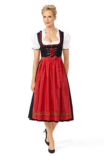 Original Steindl München-Salzburg Dirndl 3/4 lang-2tlg. Damen schwarz/rot-42