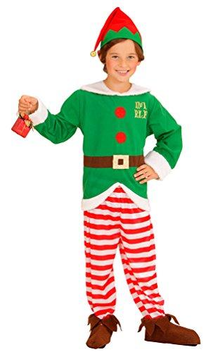 Karneval Klamotten Weihnachtswichtel Weihnachtself Weihnachtshelfer Kostüm Kinder Jungen Mädchen Oberteil, Hose, Gürtel + Mütze Größe 116 (Weihnachtswichtel-kostüm)