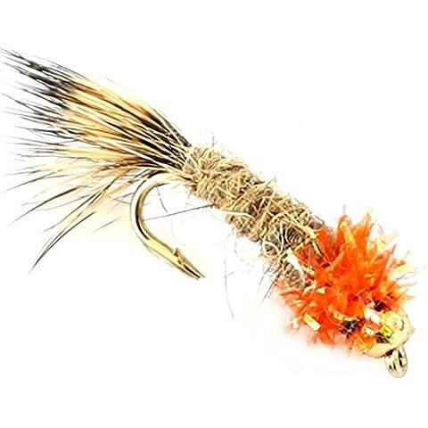 6x Pesca alla trota Oro Fiore, ninfe 33J X 6X rosso gancio superiore taglia 12 - Pesca A Mosca Indicatori Sciopero