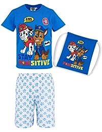 bc8117acff45e La Pat  Patrouille Pyjama Court avec Sac Enfant garçon Bleu Blanc de 3 à