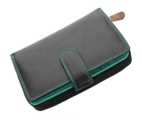 - 41LYKNsltIL - New ladies Visconti Colorado soft leather black aqua two tone purse wallet CD22