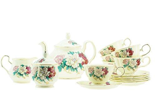 15Piece lusso colorato peonia in porcellana con bordo oro giallo Tone Tea/Coffee Set per 6persone