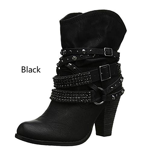 HOESCZS Tacones Altos Large Size Women's Boots Thick with Fashion Rhinestone Metal Belt Buckle Women's Boots Round Head Boots Children's Boots, Black, 39