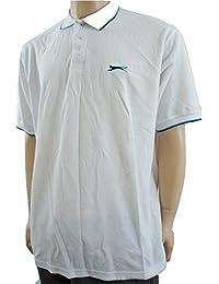 Slazenger - Polo -  - Manches courtes Homme Blanc White / Turquoise