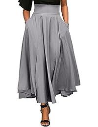 a02a2e71b104 Moonuy Femme Chic Rétro Jupe Fluide Jupe Patineuse Taille Haute Casual  Plissé Maxi Belted Vintage Mi Longue Chic Rétro Midi Jupe Plissée Jupe…