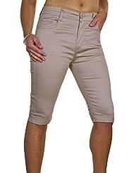 ICE (1518-5) Pantacourt en Jeans Moulant Extensible et Brillant à Revers Beige