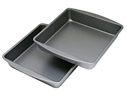OvenStuff Non-Stick 9 Inch x 9 Inch x 2 Inch Square Cake Pan Two Piece Set