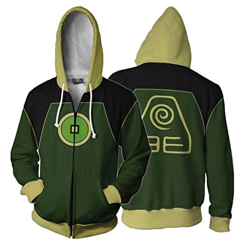 die Avatar: Der letzte Airbender Cosplay Kostüm Hoodie Pullover Advanced Tech Uniform Zipper Jacke Sweatshirt,Green-XXXXXL ()