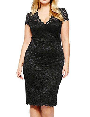 LETSDO Ausgebogte V-Ausschnitt Spitze Plus Size Midi-Kleid (XXXL Größe Kann Nur die Größentabelle Folgen, Schwarz)