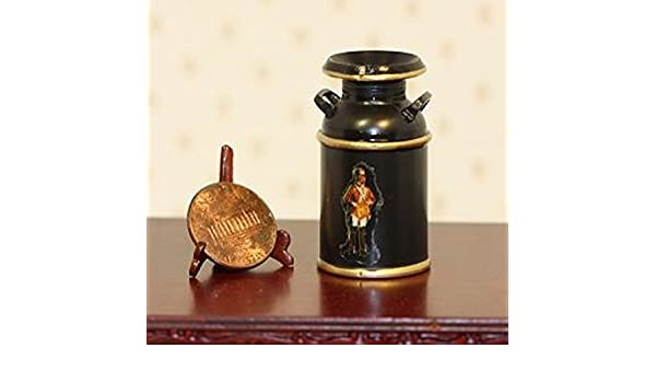 Dollhouse Miniature Black Milk Can with Decal ~ CB158BK