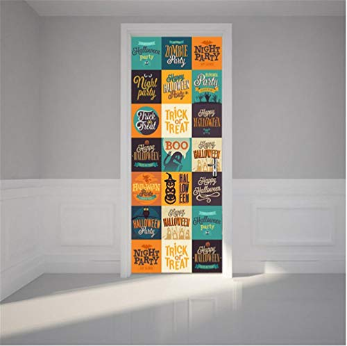 Kinderzimmer Dekoration Zubehör Kreative DIY 3D Tür Aufkleber Halloween Logo Süßes oder Saures Wandtattoo Wohnkultur 77 * 200 (Diy Für Halloween-dekorationen Tür)