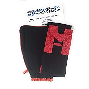 M&A Beauty Peeling-Handschuh für Körper und Gesicht, mit Riemen und Rücken, marokkanischer Kessa-Handschuh, zum Entfernen der abgestorbenen Haut [30 Tage Zufriedenheit oder gepolstert]