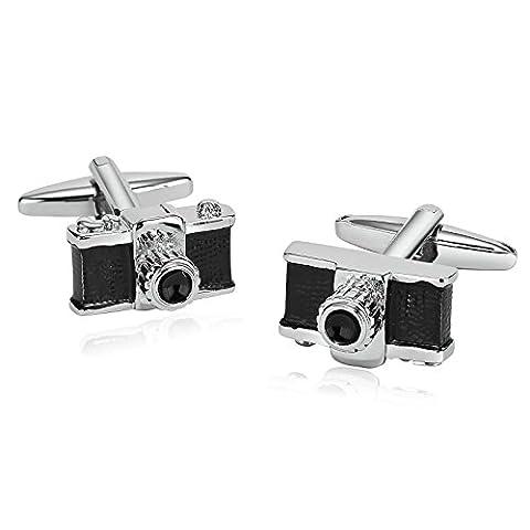 AMDXD Jewelry Stainless Steel Cufflinks for Men Camera Silver Black Cuff Links 1.8X1CM