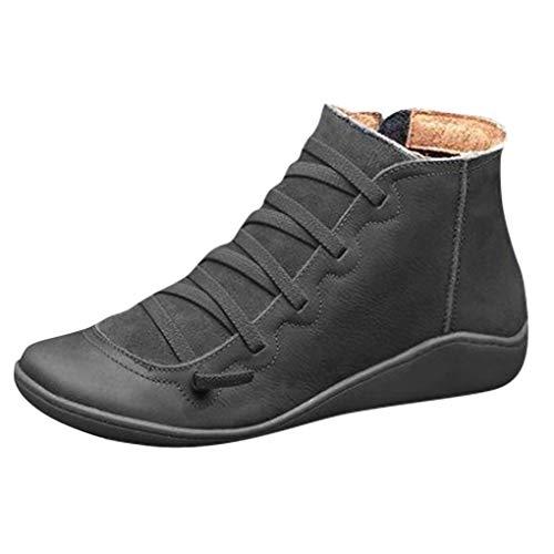 Dorical Übergrößen Schnürstiefeletten für Damen,Frauen Biker Boots Schnür Stiefel Kunstlederstiefel Damenstiefel mit Reißverschluss Gr 35-43(Schwarz,38 EU)