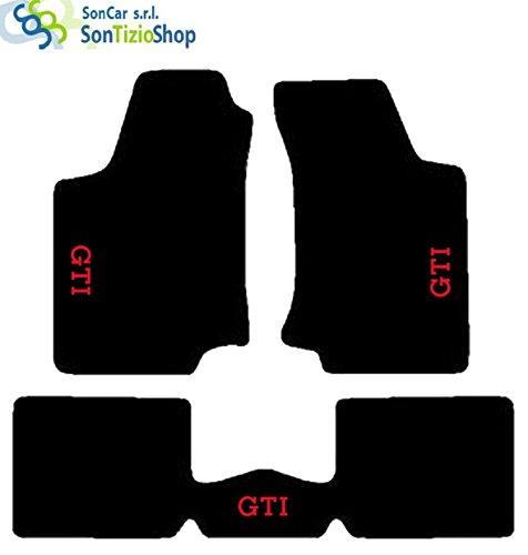 SonCar Teppiche Schwarz für Auto. Komplettset von Fußmatten handgefertigt aus Teppichboden und passgenau mit Stickerei: rot