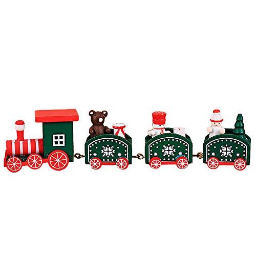(WopenJucy Tolles Geschenk !! Weihnachten Dekorationen Weihnachten Holz Kleine Zug Kinder Kindergarten Festlich(Grün))