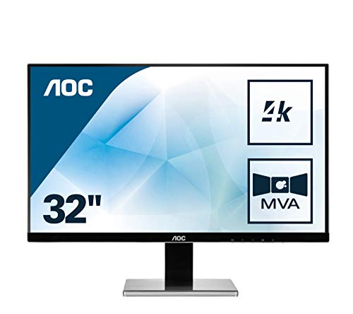 AOC U3277PWQU 80,01 cm (32 Zoll) Monitor (VGA, DVI, HDMI, 5ms Reaktionszeit, DisplayPort, 3840 x 2160, 60 Hz, Pivot, UHD) schwarz