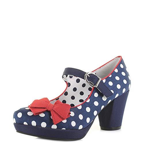 Ruby Shoo Crystal Navy Red Womens Heels Shoes -