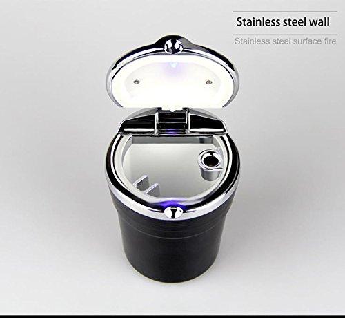 Preisvergleich Produktbild Auto Aschenbecher beleuchtet Portable Edelstahl Auto Zigaretten Aschenbecher Rauchfreier Stand-Zylinder für Becherhalter Zigaretten-Aschenbecher mit LED-Licht (Schwarz)