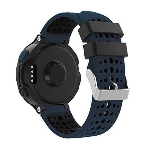 Yayuu Garmin Forerunner 235 Correa de Reloj, Banda de Reemplazo Silicona Suave Sports Pulsera para Forerunner 235/220/230/620/630/735XT Smart Watch (C, Medianoche Azul-Negro)