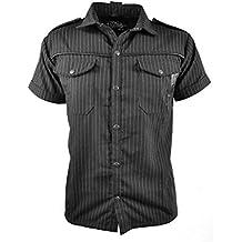 Vixxsin Pinstripe Poison Gótico Heavy Metal Camiseta para hombre negro