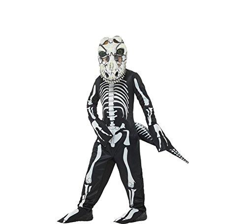 Deluxe Childs Cowboy Kostüm - Smiffys, Kinder Unisex T-Rex Skelett Kostüm, Ganzkörper Anzug, Schwanz und Maske mit linsenförmigen 3D Augen, Alter: 4-6 Jahre, 48006