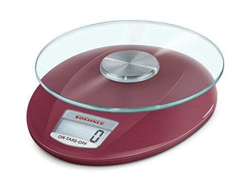 Soehnle Digitale Küchenwaage Roma mit 5 Kilo Tragkraft und 1-g-Wiegepräzision, Waage mit praktischer Zuwiegefunktion (TARA), Waage für die Küche mit LCD-Anzeige und Abschaltautomatik, Ruby Red