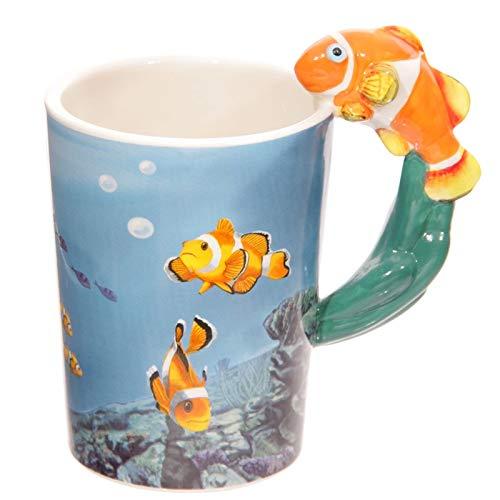 GUIDEB Großes Geschenk für Taucher Orange Clown Fish Griff Becher Anemone Fish Tank Becher Neuheit Becher Keramik Clown Fish Cup Anemone Cup