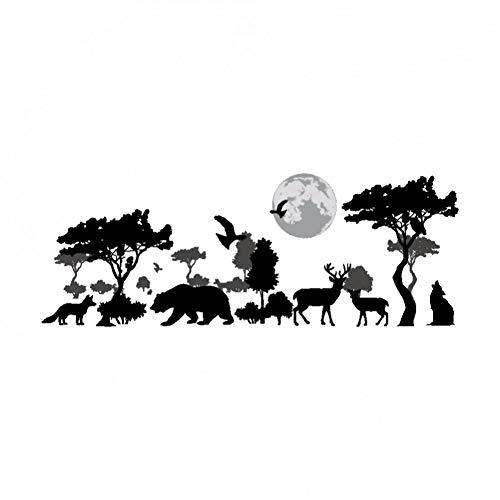 HUDETIE Schwarz Geschnitzte Dschungeltier Silhouette Dekorative Plakat Pvc Bär Giraffe Fuchs Mond Hause Wandaufkleber Wohnzimmer Wandmalerei -