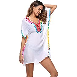 Baijiaye Mujer Vestidos Borla Transparente Beachwear Respirable Tela Playa Cover Ups Blanco