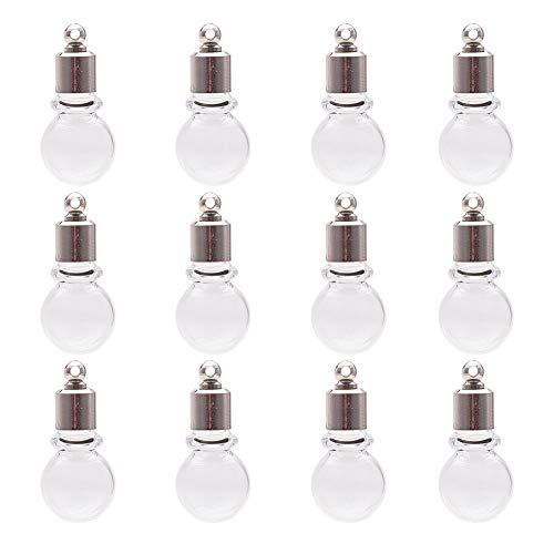 Glas Runder Anhänger (PandaHall Elite 15 Stück Runde Mini Klarglas Globe Flasche Glas Wunsch Anhänger mit Platin Ton Messing Erkenntnisse für Schmuck Machen)