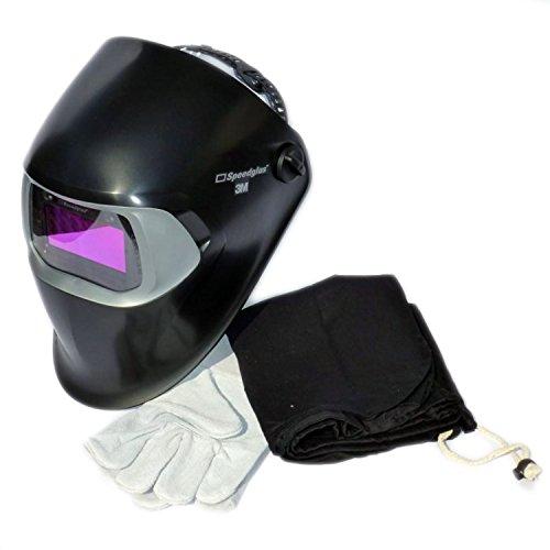 Automatikschweißmaske 3M Speedglas 100V incl. Tasche und Handschuhe, Original GoDirect24 Set mit Zubehör, 3M 100 V Schweißmaske Automatik, Schweißhelm in schwarz