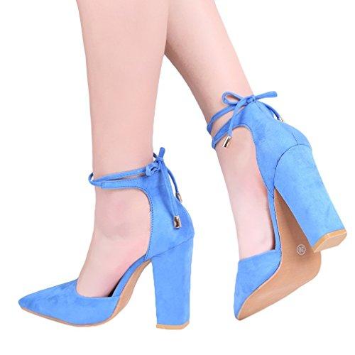 Minetom Femme Eté Élégant Sandales à Talons Peu Profondes Bouche Suède Sandals Lacets Nœud Cheville Enroulé Talons Hauts Chaussures Bleu