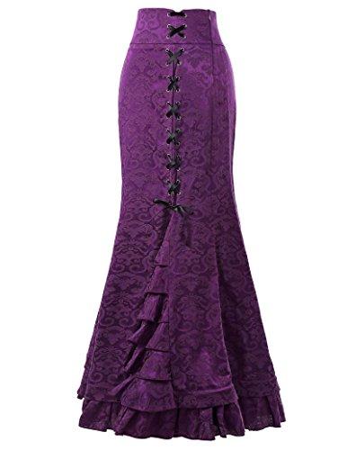 Belle Poque Damen Vintage Retro Viktorianischen Stil Hohe Taile Rüschen Jacquard Fischschwanz Meerjungfrau Langen Rock BP204 Lila