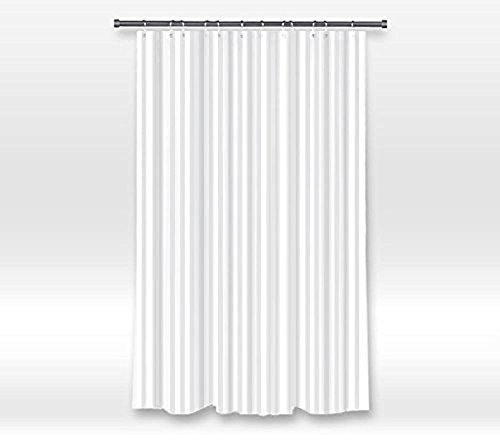 Duschvorhang Hotel Fabric (JHDHVRFR Hotel Quality Waterproof Washable Fabric Shower Curtain Liner with Metal Grommets,Mildew Resistant,White Tonal Damask Stripe, PVC-Free, EXTRA LONG Size (60