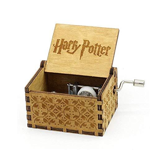 Funmo Caja de música temática de madera manivela Harry potter, mecanismo de 18 notas Caja musical tallada antigüedad mejor regalo para niños, amigos
