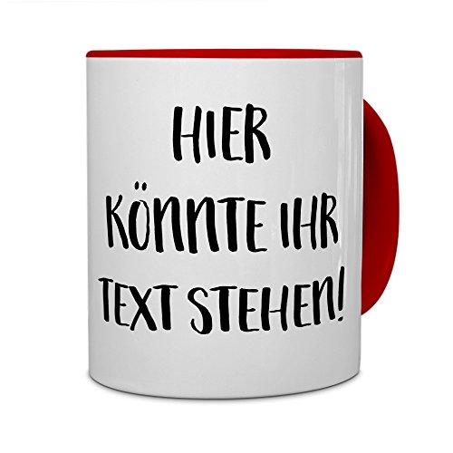 printplanet - Tasse mit eigenem Text Bedrucken Lassen - Kaffeebecher mit Wunschtext oder Spruch Personalisieren - Becher Rot