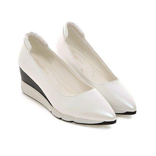 AllhqFashion Femme Pointu à Talon Correct Matière Souple Couleur Unie Tire Chaussures Légeres Blanc