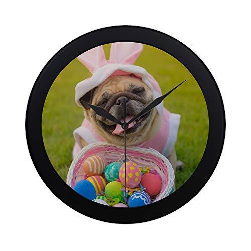 SHAOKAO Moderner einfacher Kitz-Mops-Hund, der Kaninchen-Kostüm-Wanduhr Innen Nicht tickt Stiller Quarz-ruhige Sweep-Bewegungs-Wand Clcok für Büro, Badezimmer, Wohnzimmer dekorativ 9,65 Zoll trägt