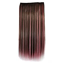 Alay&me 18inch Colorful Party Long Straight Hair (Dark Brown & Pink)